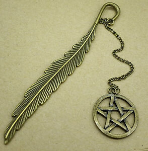 Antique-Bronze-Feather-Pentagram-Pentacle-Bookmark-for-Note-Book-Jewelry-Gift