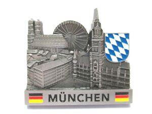 Muenchen-Metall-Magnet-Souvenir-Germany-Frauenkirche-Rathaus-Marienplatz
