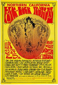 "California Folk-Rock Festival Poster Jimi Hendrix, Led Zeppelin 13 x 19"" Photo"