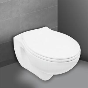 Spülrandloses WC Weiß Wand-WC Spülrandlos Tiefspüler mit Sitz Hänge-WC Toilette