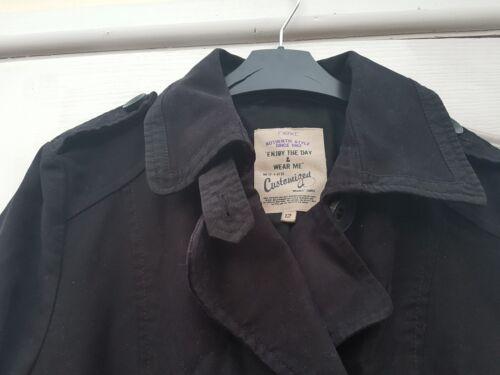 Mac nero petto cotone Cappotto bottoni doppio Trench contrasto con a brillante Macinato in dnqRgwxS