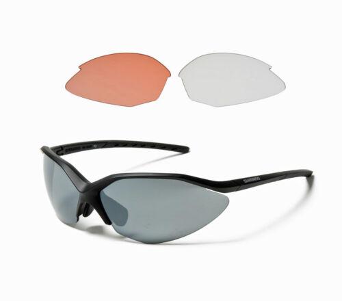 New Shimano Cycling Sport Sunglasses CE-S52R Black Frames 3 Lens Sets