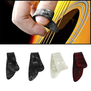 New-3-Finger-Picks-1-Thumb-Pick-Plectrums-Guitar-Adjustable-Plastic-Set