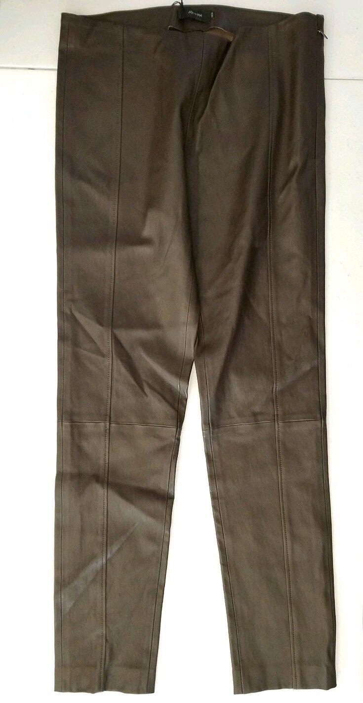 JOSEPH Womens Lambskin Leather Dark Brown Pants Size 40 NWT