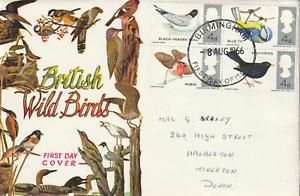 8-AUGUST-1966-BRITISH-WILD-BIRDS-NON-PHOS-FIRST-DAY-COVER-BIRMINGHAM-FDI-CANCEL