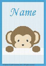 Crochet Patterns - PEEK-A-BOO  BABY BOY MONKEY - PERSONALIZED **BEGINNER PATTERN