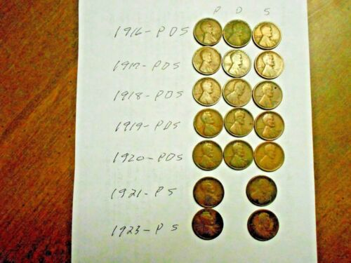 SET OF 19 LINCOLN PDS WHEAT CENTS 1916,17,18,19,20,21,23 COMPLETE