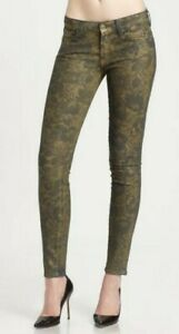EUC 7 FOR ALL MANKIND wmns floral metallic finish mid rise skinny jeans US26