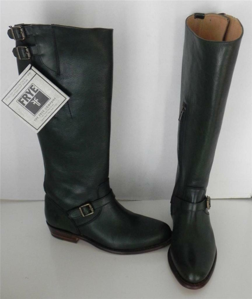 Frye Dorado Green Riding Equestrian Leather Buckle Knee High Boots Boots Boots 5 2f668e