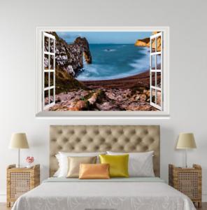 3D bluee Ocean View 127 Open Windows WallPaper Wandbilder Wall Print AJ Jenny