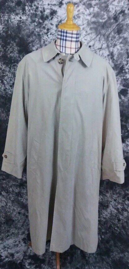Mens 42R Nautica Zip In Flannel Liner Beige Over Coat Trench Coat