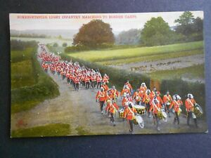 VINTAGE-MILITARY-POSTCARD-SOMERSET-LIGHT-INFANTRY-MARCHING-TO-BORDON-CAMPS
