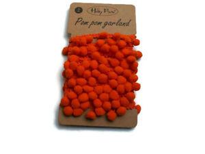 Fougueux Ruban Petits Pompons Orange 3 Mètres/couture Loisirs Créatifs GuéRir La Toux Et Faciliter L'Expectoration Et Soulager L'Enrouement