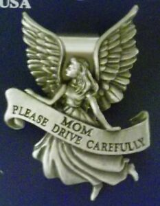 Daughter Please Drive Carefully Guardian Angel Pewter Car Visor Clip