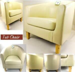 Cream Bonded Leather Tub Chair Armchair Dining Living Room Reception Office