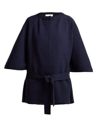 Chloe Intarsia Knit Wool Blend Cape Coat - Womens - Navy size small RRP