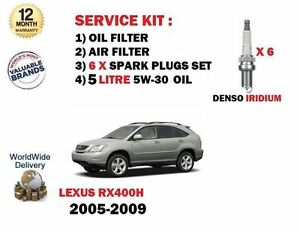 FOR LEXUS RX400H HYBRID 2005-2009 OIL AIR FILTER + PLUGS + 5 LTR OIL SERVICE KIT