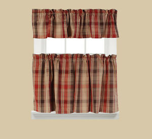Image Is Loading Cooper Red Ish Plaid Kitchen Curtains BRAND NEW