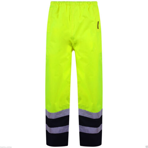 Hi Viz Waterproof Rain Over Trousers High Vis Visibility Mens Elasticated Pants