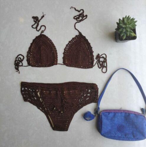 Handmade Boho Brazilian Skimpy Cut Out Crochet Bikini Swimsuit Hippy Set Fancy