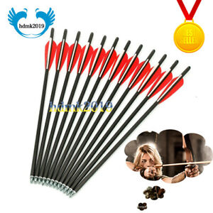 """12x 20/""""Archery Bolts Bow Arrow Spine400 Carbon Arrows for Hunting Crossbow Shoot"""