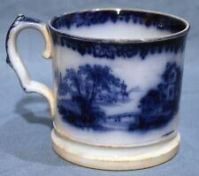 Flow Blue, Early Victorian, Ironstone, Shaving Mug, RHONE Pattern, 1845