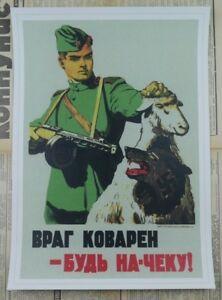 Soviet Russian WW2 Propaganda Poster Print FASCISM WORST ENEMY OF WOMEN #V01