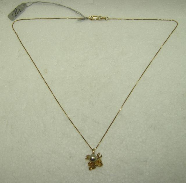 Perla Ciondolo Collana con   Uva Disegno Foglia Set Set Set in 14k oro Giallo 15.5   03a836