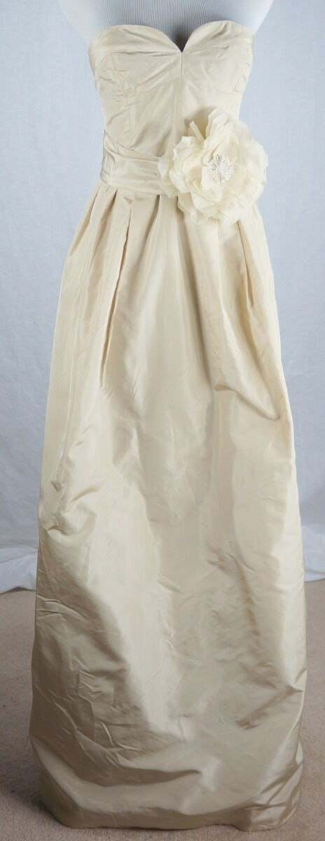 J Crew Gown Size 2 Sascha Long Silk Taffeta Dress Champagne With Sash New