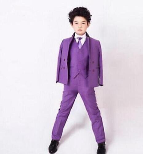 Purple Kid/'s Wedding Formal Groom Tuxedos Boys Children Party Prom Suits Bespoke