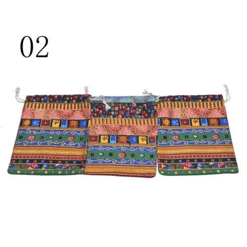 3Pcs 9.5x12cm Leinen Bunt Tribal Tribe Kordelzug Schmuck-Geschenk-Beutel-ZP