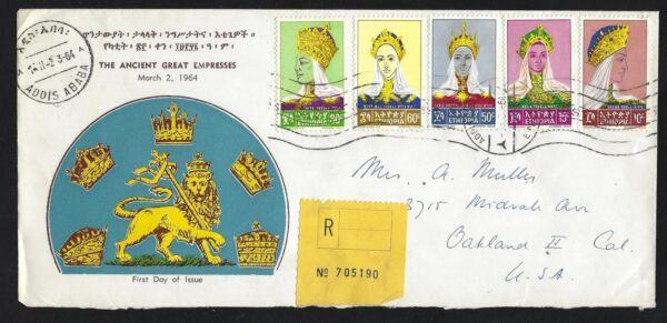 Brillant 1964 L'ethiopie Scott #415-419 Registered Fdc-les Grands Anciens Impératrices Set AgréAble à GoûTer