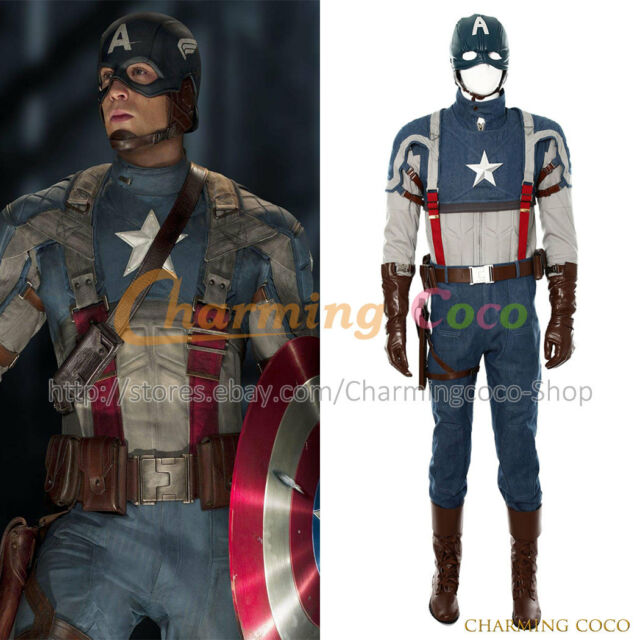 Captain America 1 Steve Rogers Cosplay Costume Men Halloween Uniform Outfit New  sc 1 st  eBay & Captain America 1 Steve Rogers Cosplay Costume Men Halloween Uniform ...