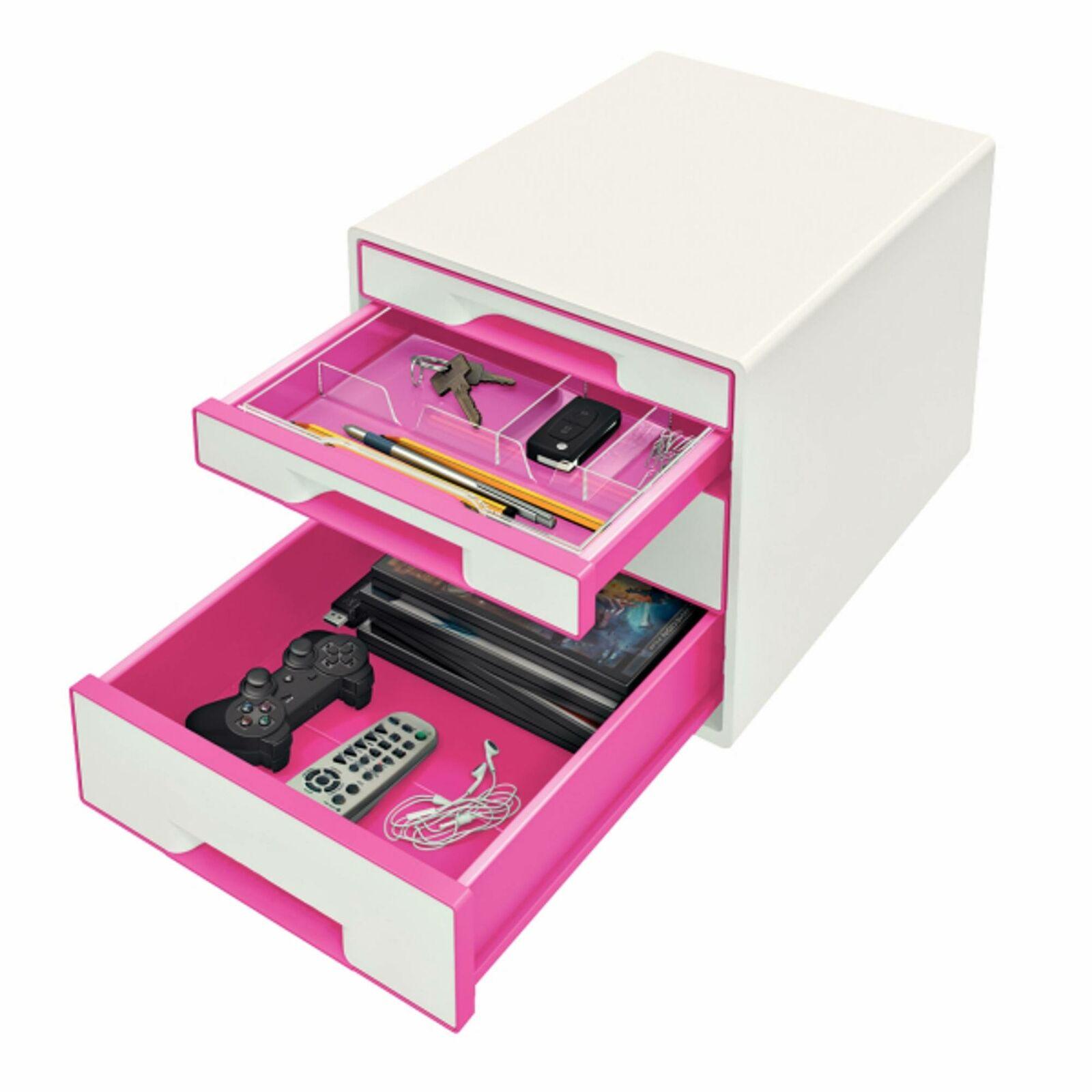 Schubladenbox LEITZ 5213 WOW 5213-20-23 A4 Perlweiß//Pink 4 Schubladen 287 x 270