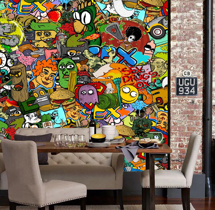 3D Graffiti animals 26 Wall Paper wall Print Decal Wall Deco Indoor wall Mural