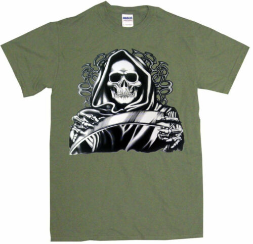 Hooded Grim Reaper With Scythe Mens Tee Shirt Pick Size Color Small-6XL