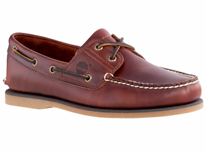 Timberland-2-pour-Homme-Oeil-Classique-Handsewn-cuir-Chaussures-bateau-Root-Beer-style-25077