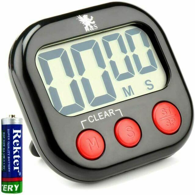 H S Digital Cooking Magnetic Countdown Lcd Kitchen Timer Black For Sale Online Ebay