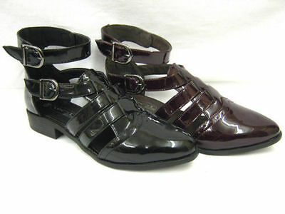 f9761- Damas Sintético Charol De Tiras Zapato Botas 2 COLORES burgundy&black!