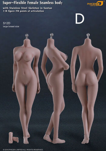 Phicen Female Seamless Body S12D Large Breast stainless steel Skelenton in Sunta