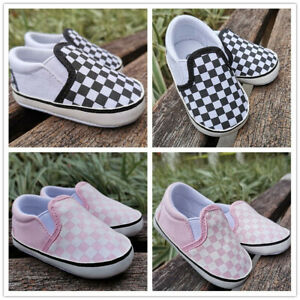 Baby Infant Boys Girls Checkerboard Slip-On Crib Shoes Newborn Toddler Trainers
