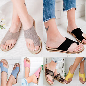 Women-Toe-Ring-Slippers-Sandals-Bunion-Corrector-Platform-Flip-Flops-Flats-Shoes