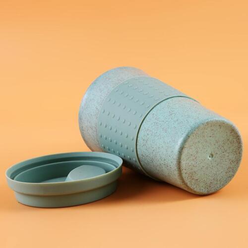 1 pc Fashion Wheat Straw Plastic Coffee Cup Travel Mug Leak proof with Lid FI