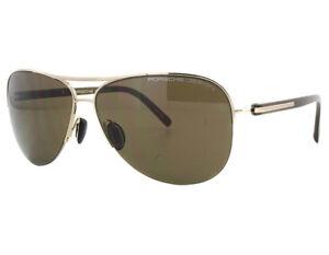 cc453d15b6d NEW Porsche Design P8569 B 61mm Light Gold   Brown Sunglasses ...