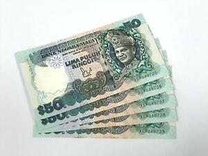 B0131 - 5pcs 6th RM50 Jaffar Sign 1st Prefix #XS BA Banknote - UNC minor foxing