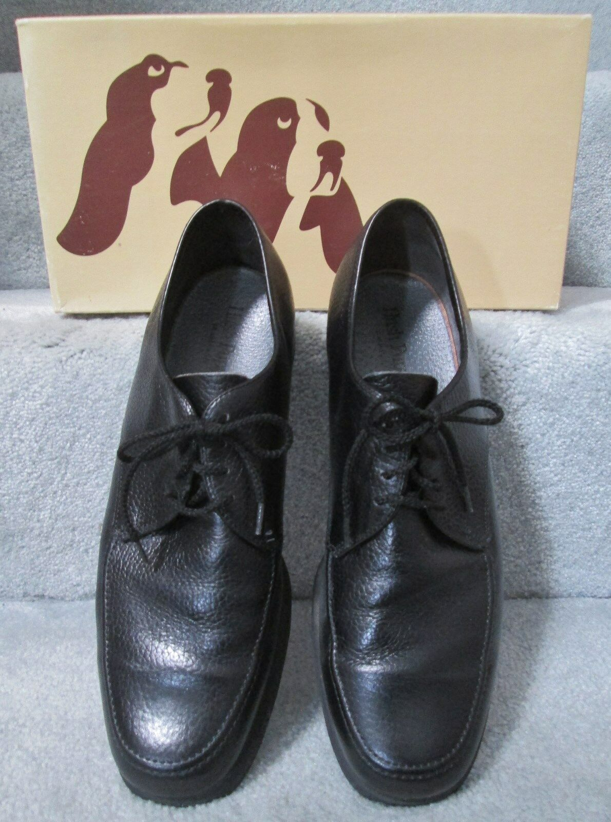 Men's HUSH PUPPIES Leather Duke II Black Pigskin Leather PUPPIES Oxford Dress Shoes - Size 9.5 M 18b12e