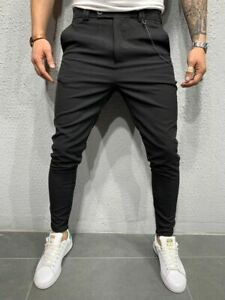 Corte De Tela Clasico Pantalones Ropa De Calle Italiano Para Hombre Casual Pantalon Negro Ebay