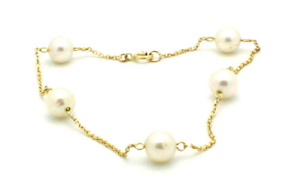 14K Yellow Gold Bracelet With Freshwater Pearls 8 Inches