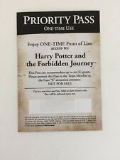Universal Studios Hollywood Priority Pass HARRY POTTER ONE-TIME Front of Line