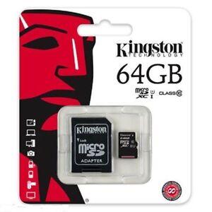 64 GB Micro SD Kingston Genuine Memory Card Class 10 With Adaptor New UK Stock